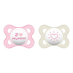 MAM  2er-Pack Schnuller Original I love Mummy 0-6M  rosa/transparent