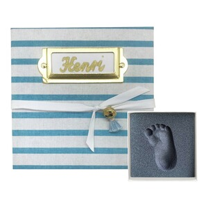 My Magic Footprint  Baby Abdruckset Erinnerungsbox  blue Stripes