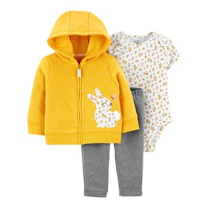CARTER´S3-tlg. Set Body kurzarm, Sweatjacke und Leggings Blumen 1