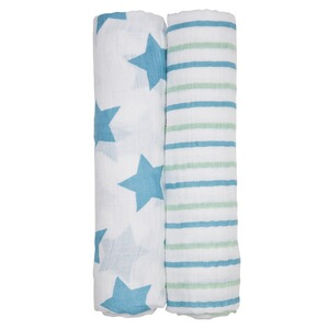 LÄSSIG  2er-Pack Mullwindel Swaddle & Burp Blanket XL Stars&Stripes boy 120x120 cm