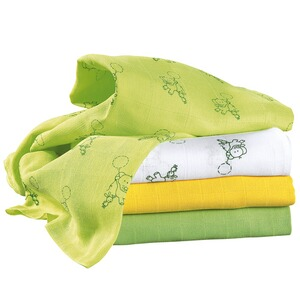 BORNINO BASICS Le lot de 4 langes 80 x 80 cm  blanc/jaune/vert
