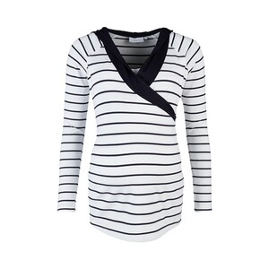 2hearts WE LOVE BASICS Stillshirt Wellness mit Kapuze marine  stripes blanc/marine