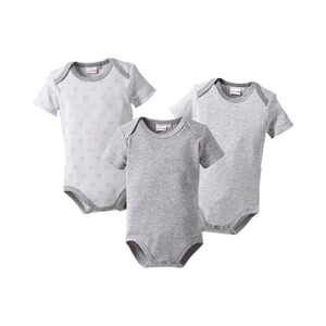 BORNINO BASICS Body kurzarm 3er-Pack  grau