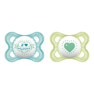 MAM  2er-Pack Schnuller Original I love Mummy 0-6M  blau/transparent