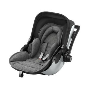 KIDDY  Evoluna i-Size2 Babyschale mit Liegefunktion incl. Isofix Base 2  Grey Melange Icy Grey