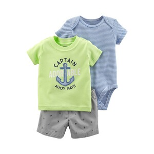 CARTER´S  3-tlg. Set T-Shirt, Body kurzarm und Shorts Captain