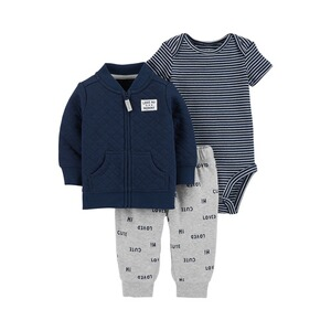 CARTER´S  Ensemble 3 pcs. veste matelassée, body manches courtes et pantalon rayé Love my Mommy