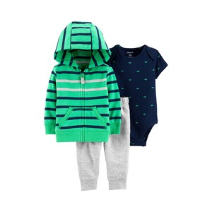 CARTER´S  3-tlg. Set Sweatjacke, Body kurzarm und Jogginghose Wale