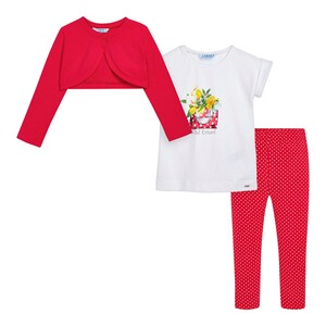 Mayoral  3-tlg. Set Bolero, T-Shirt und Leggings Blumen