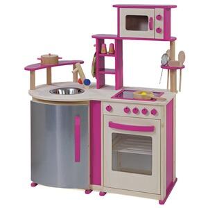 HOWA Kinderküche Aus Holz Natur/pink