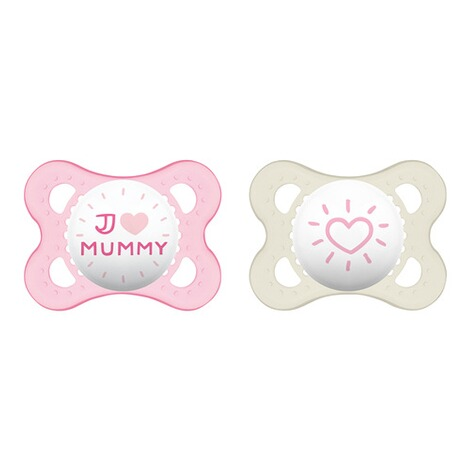 MAM2er-Pack Schnuller Original I love Mummy 0-6M  rosa/transparent 1
