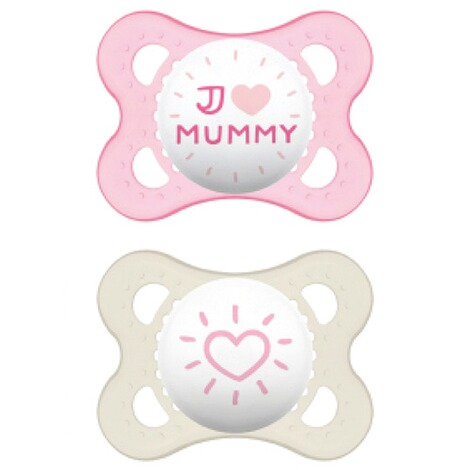 MAM2er-Pack Schnuller Original I love Mummy 0-6M  rosa/transparent 2