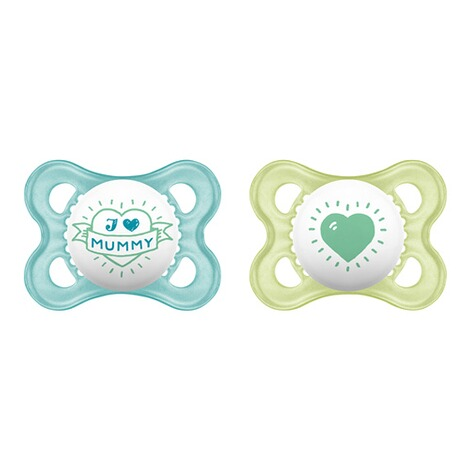 MAMLot de 2 sucettes Original I love Mummy 0-6M  bleu/transparent 1