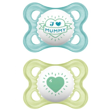 MAM2er-Pack Schnuller Original I love Mummy 0-6M  blau/transparent 2