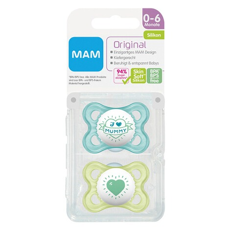 MAM2er-Pack Schnuller Original I love Mummy 0-6M  blau/transparent 3