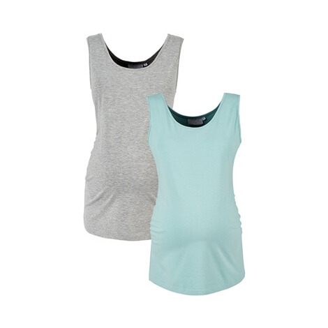 2hearts WE LOVE BASICS 2er-Pack Umstands-Tops  grau/aqua 1