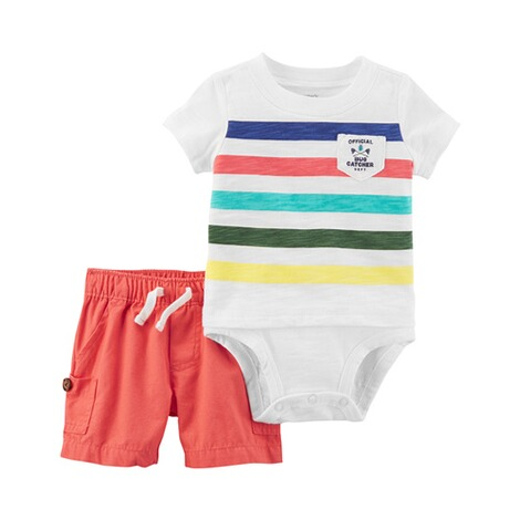 CARTER´S  2-tlg. Set Body kurzarm und Shorts Blockstreifen 1