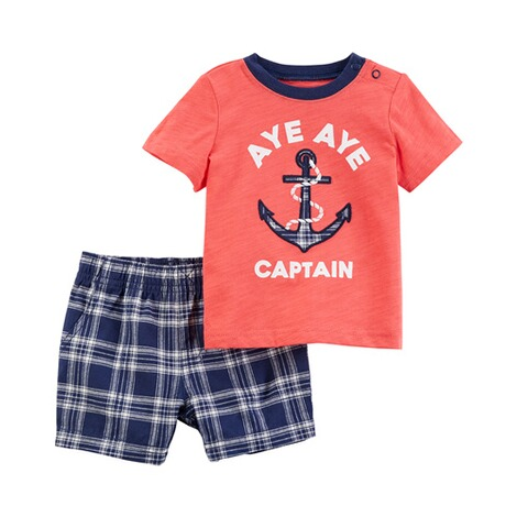CARTER´S  2-tlg. Set T-Shirt und Shorts Captain Karo 1