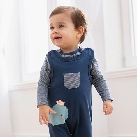 2-TLG. Offwhite//blau Bornino Seaside Strampler-Set - einfarbiges Langarmshirt mit Druckkn/öpfen an den Schultern /& geringelter Strampler