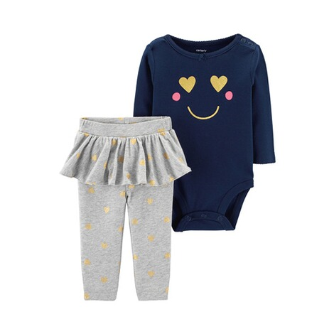 CARTER´S  2-tlg. Set Body langarm und Leggings Tutu Herzen 1